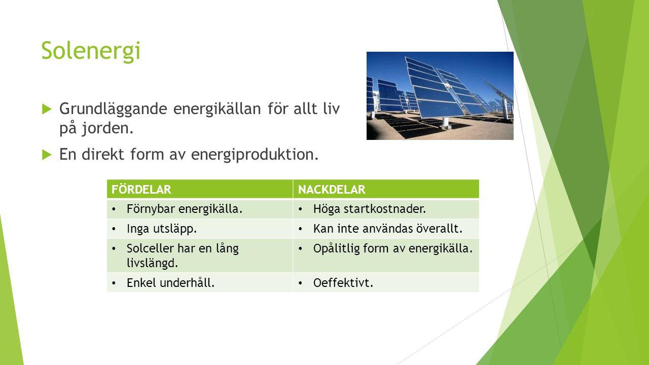 Solenergi Grundläggande energikällan för allt liv på jorden.
