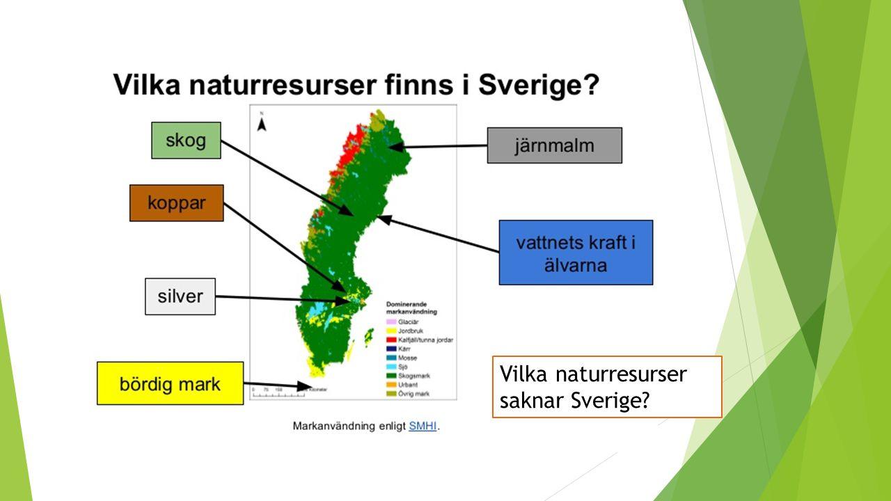 Vilka naturresurser saknar Sverige