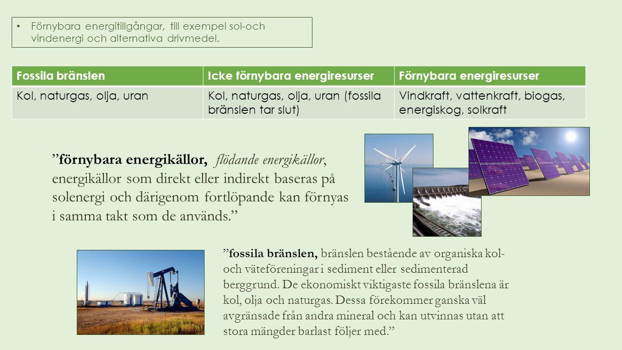Förnybara energitillgångar, till exempel sol-och vindenergi och alternativa drivmedel.