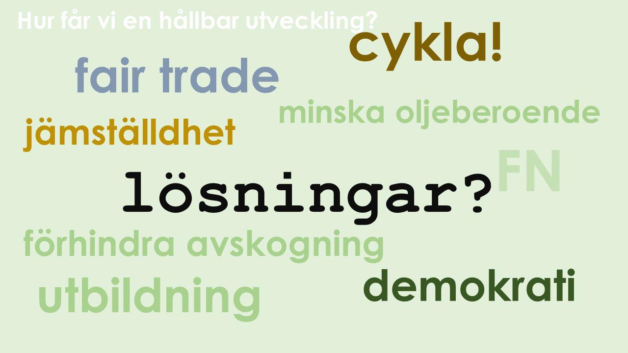 lösningar FN cykla! fair trade utbildning demokrati jämställdhet