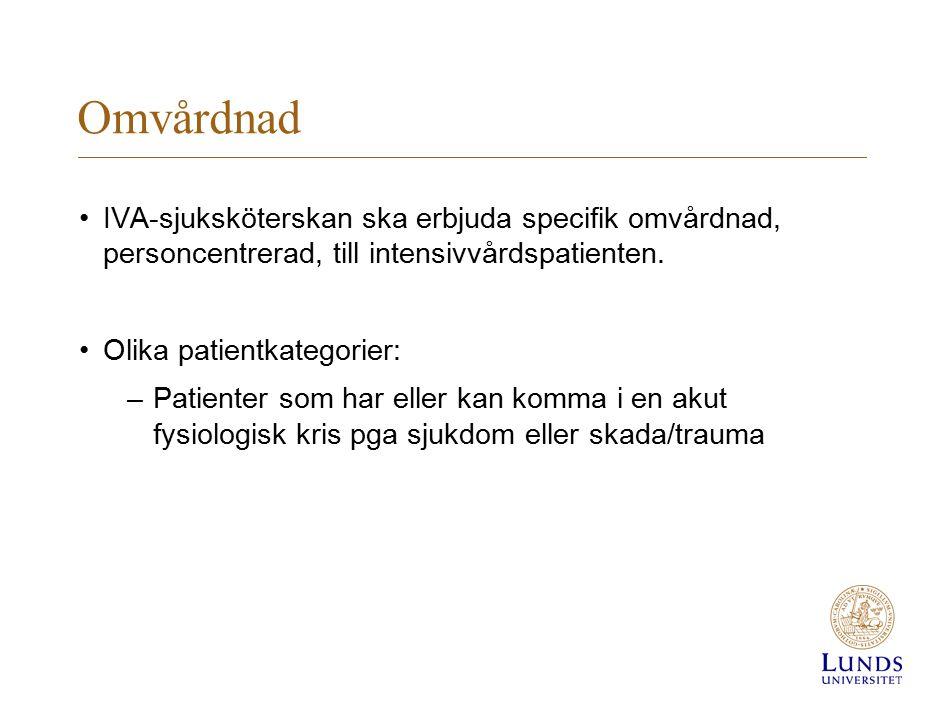 Omvårdnad IVA-sjuksköterskan ska erbjuda specifik omvårdnad, personcentrerad, till intensivvårdspatienten.