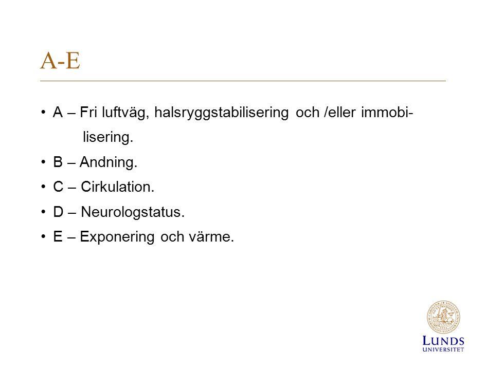 A-E A – Fri luftväg, halsryggstabilisering och /eller immobi-