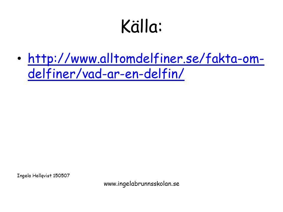 Källa: http://www.alltomdelfiner.se/fakta-om-delfiner/vad-ar-en-delfin/ Ingela Hellqvist 150507.