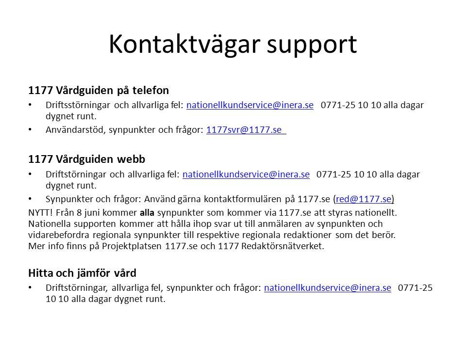 Kontaktvägar support 1177 Vårdguiden på telefon 1177 Vårdguiden webb