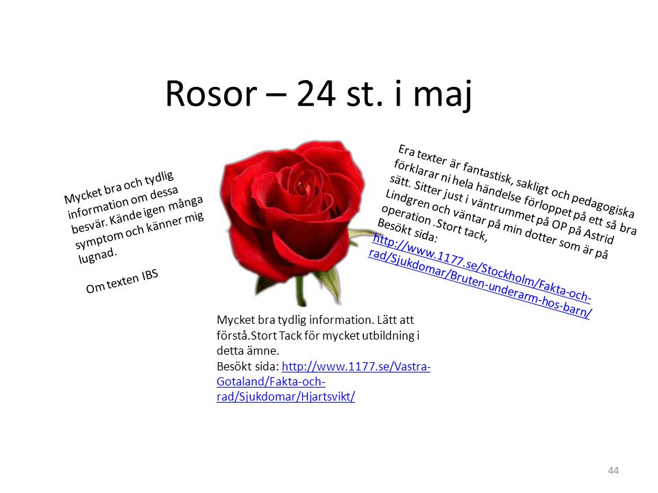 Rosor – 24 st. i maj Mycket bra och tydlig information om dessa besvär. Kände igen många symptom och känner mig lugnad. Om texten IBS.