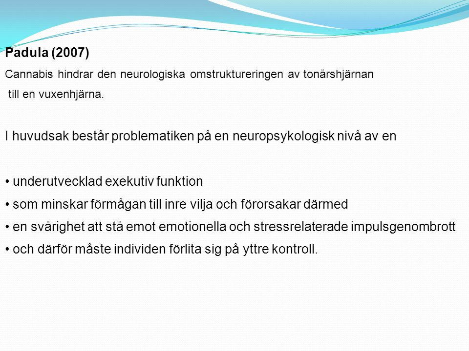 I huvudsak består problematiken på en neuropsykologisk nivå av en