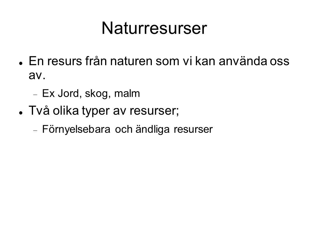 Naturresurser En resurs från naturen som vi kan använda oss av.