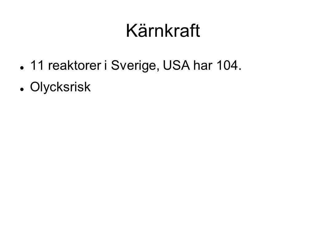 Kärnkraft 11 reaktorer i Sverige, USA har 104. Olycksrisk