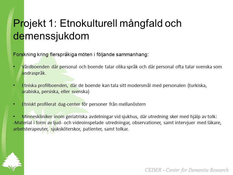 Projekt 1: Etnokulturell mångfald och demenssjukdom