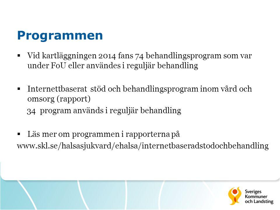 Programmen Vid kartläggningen 2014 fans 74 behandlingsprogram som var under FoU eller användes i reguljär behandling.