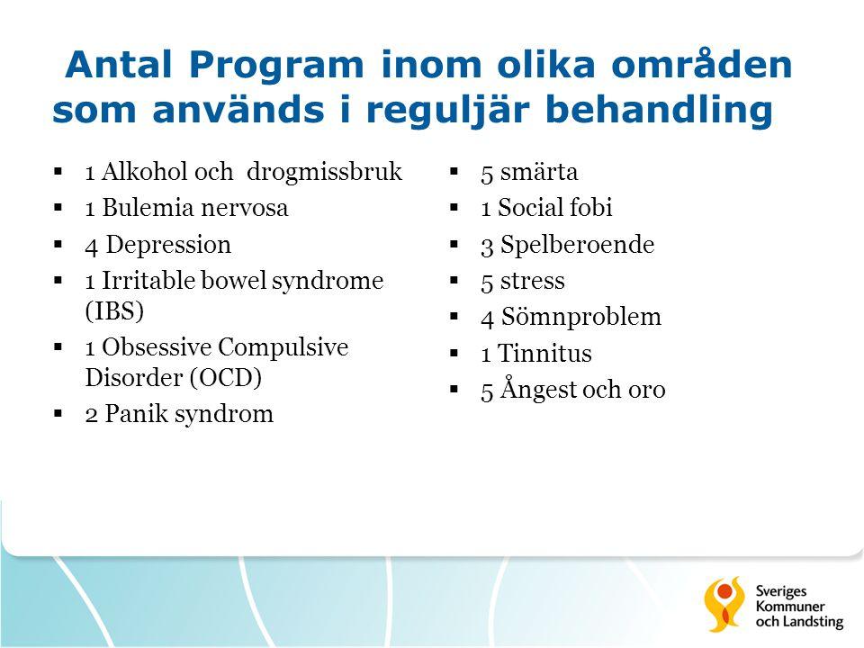 Antal Program inom olika områden som används i reguljär behandling
