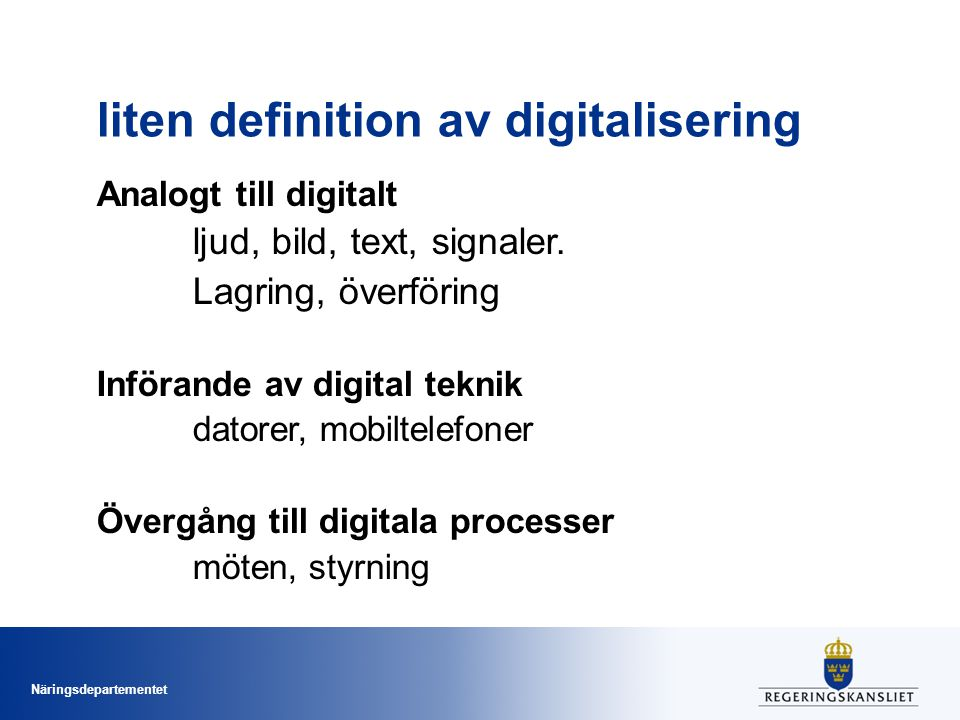 liten definition av digitalisering