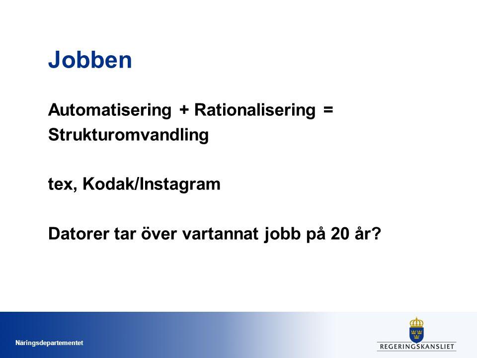 Jobben Automatisering + Rationalisering = Strukturomvandling tex, Kodak/Instagram Datorer tar över vartannat jobb på 20 år.