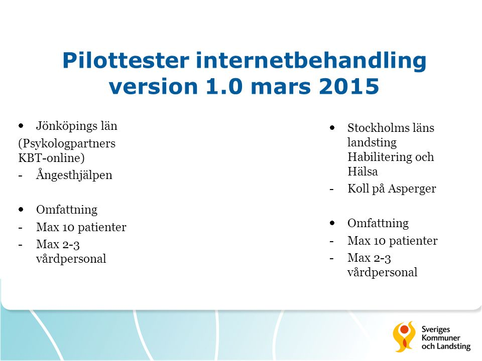 Pilottester internetbehandling version 1.0 mars 2015