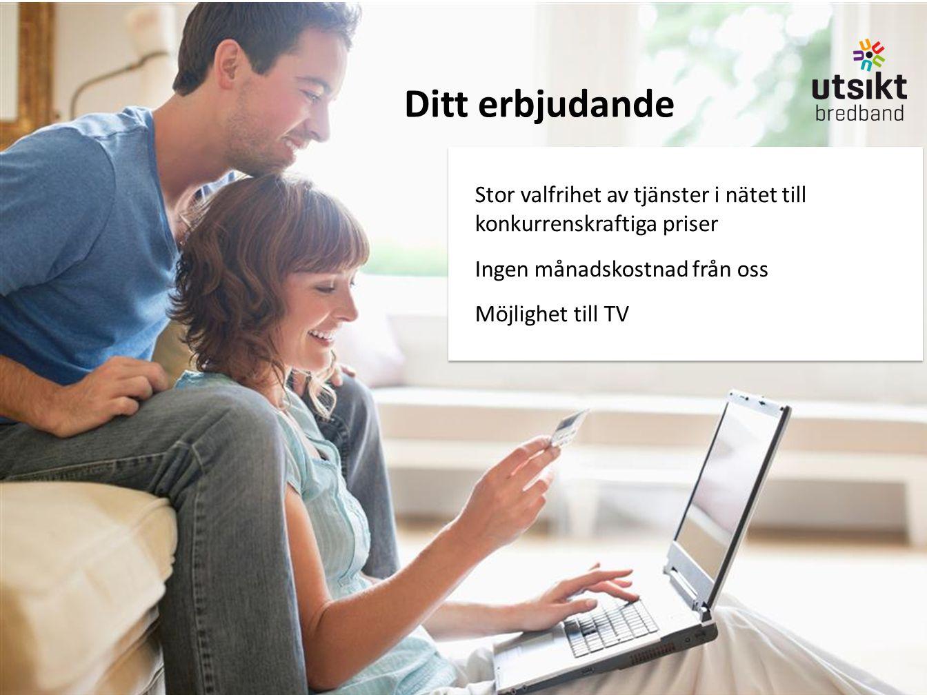 Ditt erbjudande Stor valfrihet av tjänster i nätet till konkurrenskraftiga priser. Ingen månadskostnad från oss.