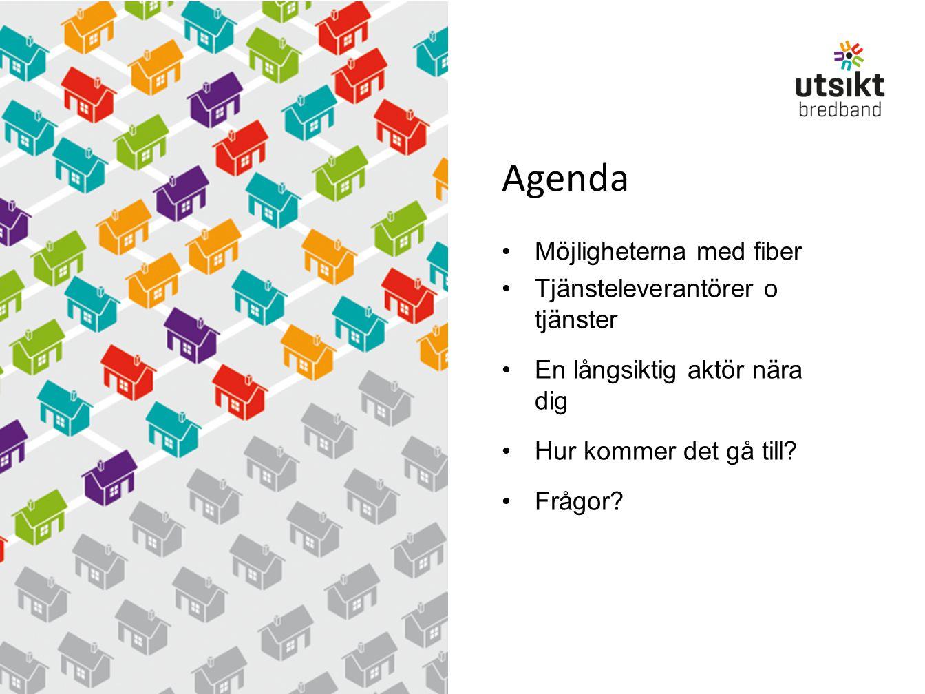Agenda Möjligheterna med fiber Tjänsteleverantörer o tjänster