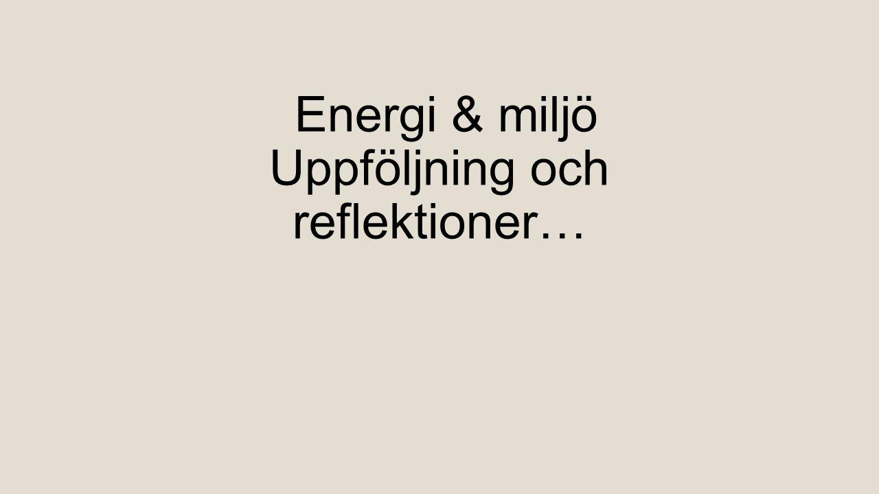 Energi & miljö Uppföljning och reflektioner…