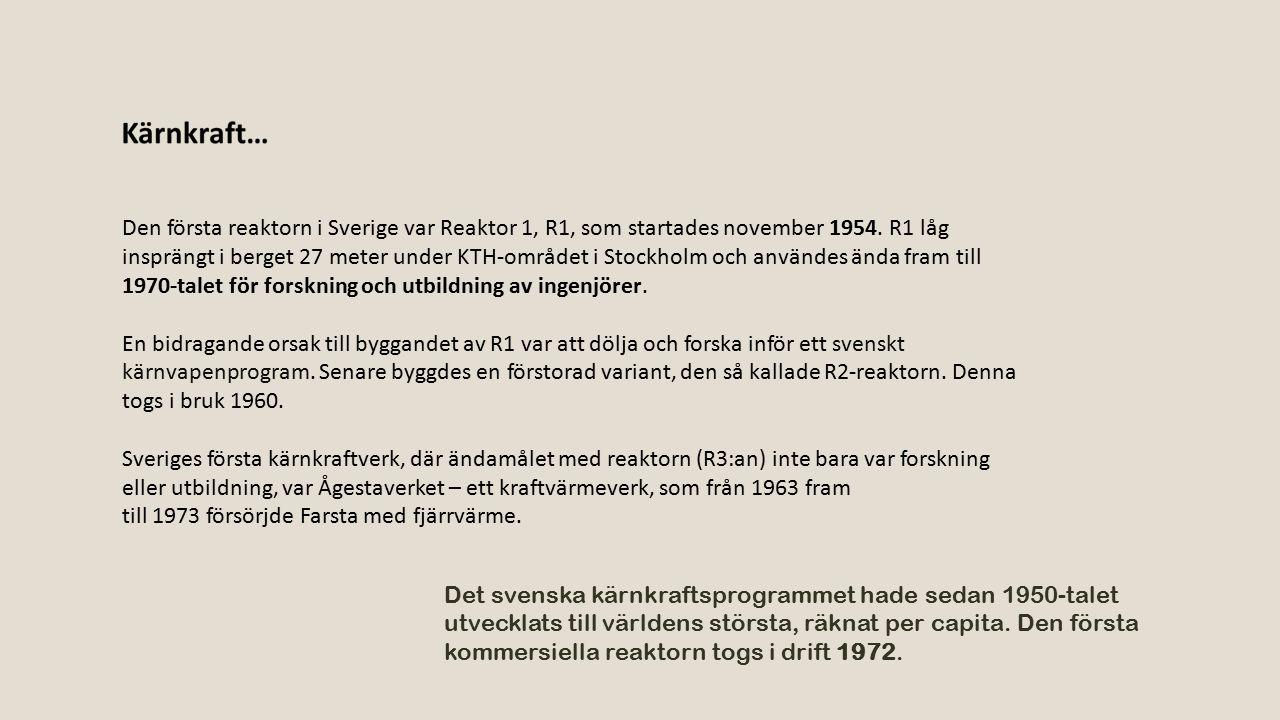 Den första reaktorn i Sverige var Reaktor 1, R1, som startades november 1954. R1 låg insprängt i berget 27 meter under KTH-området i Stockholm och användes ända fram till 1970-talet för forskning och utbildning av ingenjörer.