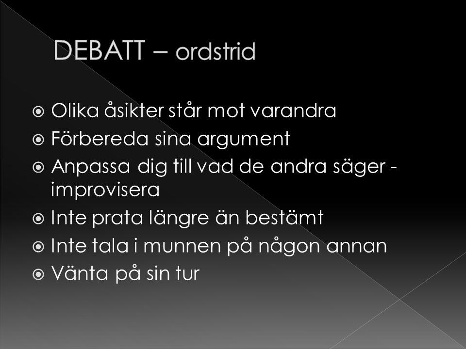 DEBATT – ordstrid Olika åsikter står mot varandra