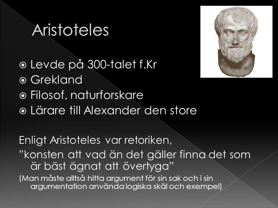Aristoteles Levde på 300-talet f.Kr Grekland Filosof, naturforskare