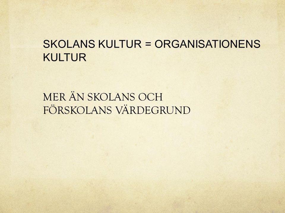 SKOLANS KULTUR = ORGANISATIONENS