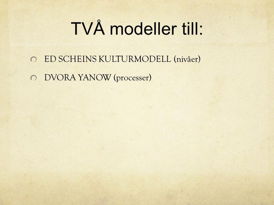 TVÅ modeller till: ED SCHEINS KULTURMODELL (nivåer)