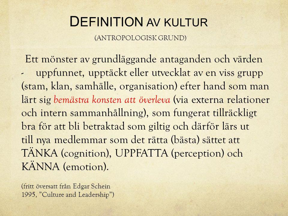 DEFINITION AV KULTUR (ANTROPOLOGISK GRUND)
