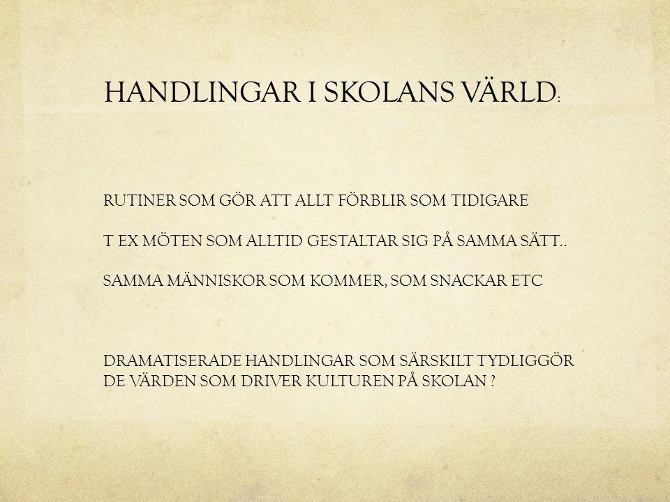 HANDLINGAR I SKOLANS VÄRLD: