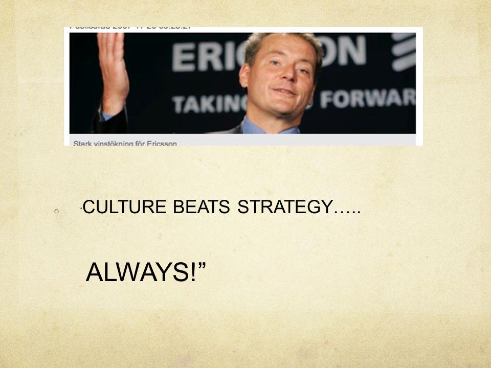 CULTURE BEATS STRATEGY…..