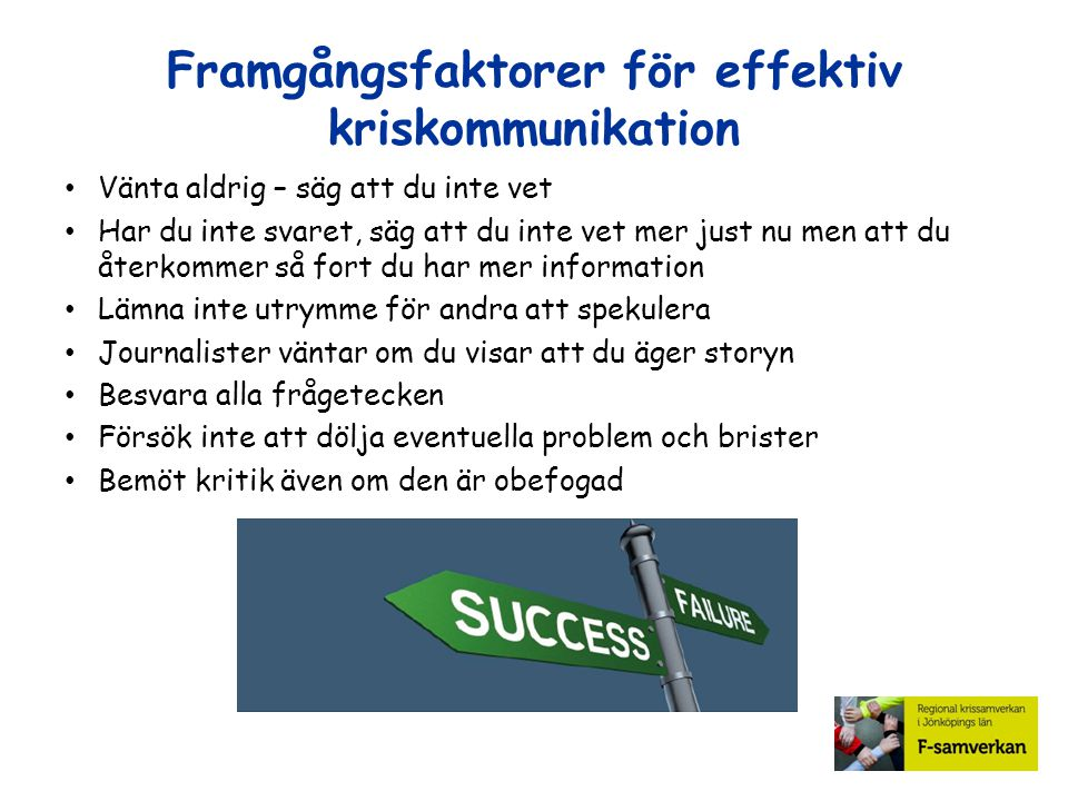Framgångsfaktorer för effektiv kriskommunikation