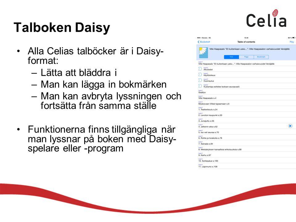 Talboken Daisy Alla Celias talböcker är i Daisy-format:
