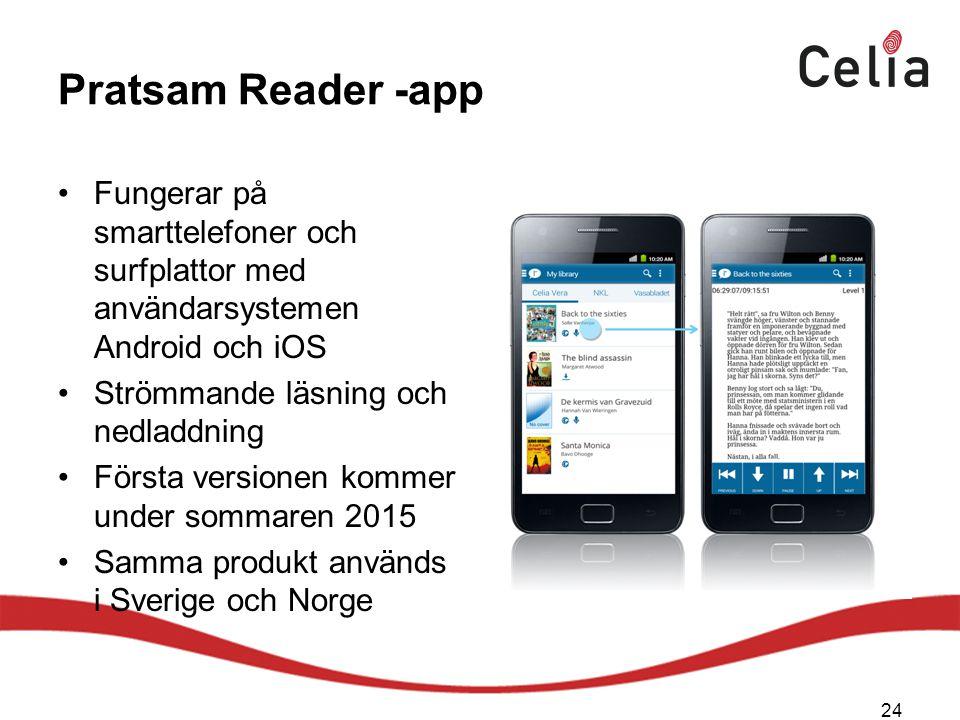 Pratsam Reader -app Fungerar på smarttelefoner och surfplattor med användarsystemen Android och iOS.