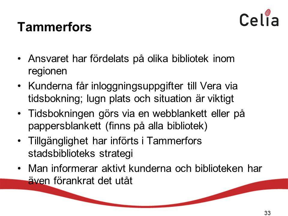 Tammerfors Ansvaret har fördelats på olika bibliotek inom regionen