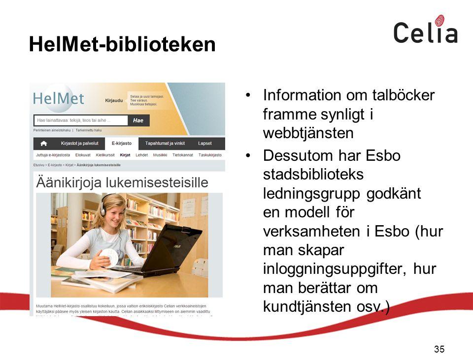 HelMet-biblioteken Information om talböcker framme synligt i webbtjänsten.