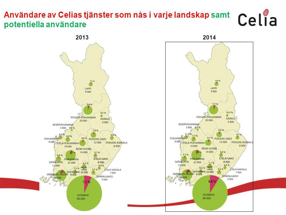 Användare av Celias tjänster som nås i varje landskap samt potentiella användare