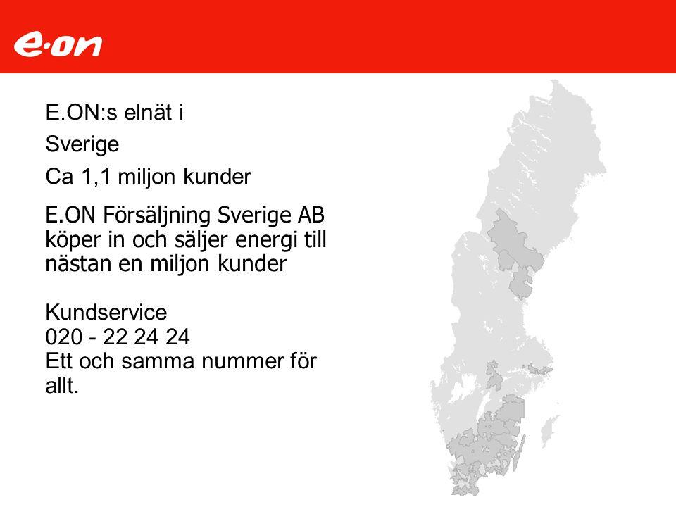 E.ON:s elnät i Sverige Ca 1,1 miljon kunder