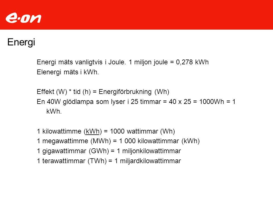 Energi Energi mäts vanligtvis i Joule. 1 miljon joule = 0,278 kWh
