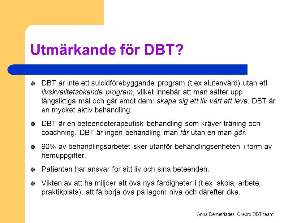 Anna Demetriades, Örebro DBT-team