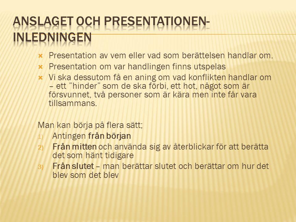 Anslaget och presentationen- inledningen