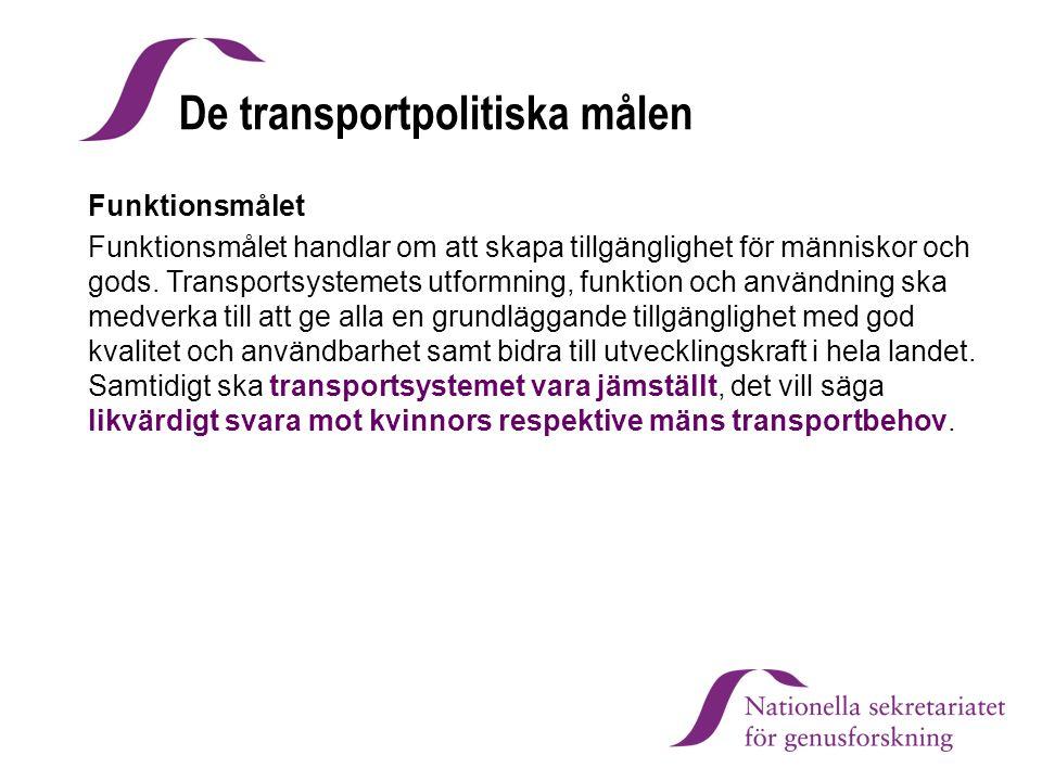 De transportpolitiska målen