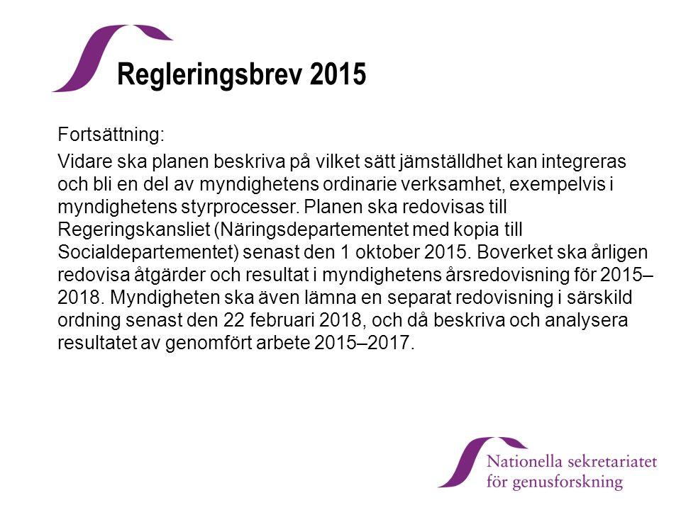 Regleringsbrev 2015 Fortsättning: