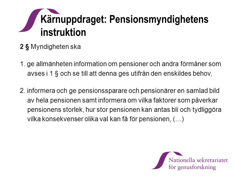 Kärnuppdraget: Pensionsmyndighetens instruktion