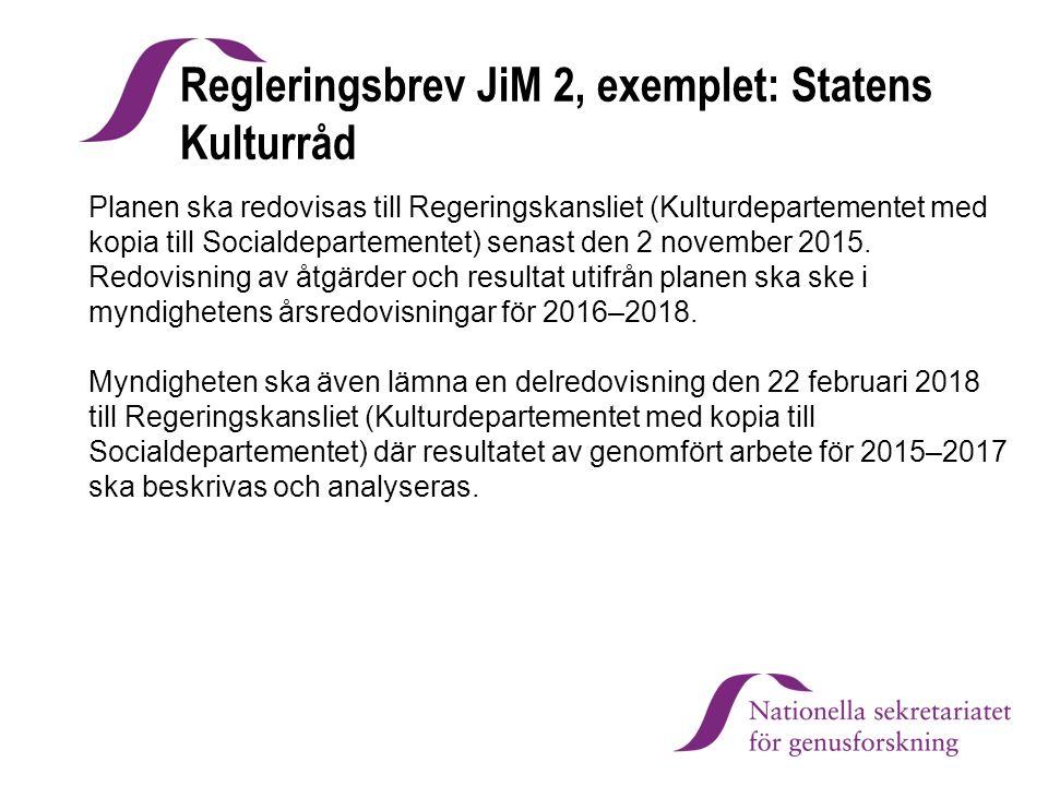 Regleringsbrev JiM 2, exemplet: Statens Kulturråd