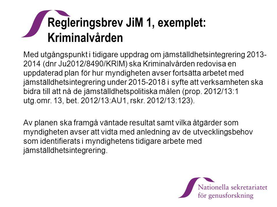 Regleringsbrev JiM 1, exemplet: Kriminalvården
