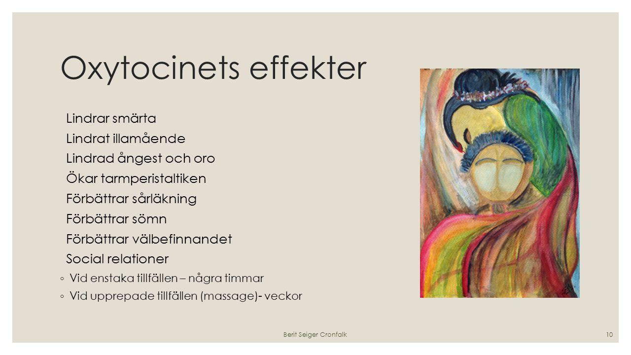 Oxytocinets effekter Lindrar smärta Lindrat illamående