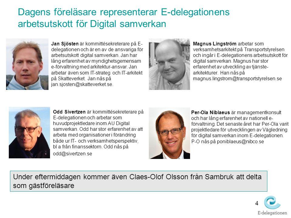 Dagens föreläsare representerar E-delegationens arbetsutskott för Digital samverkan