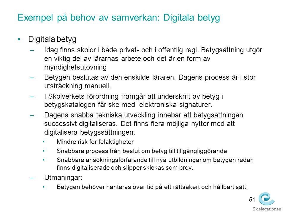 Exempel på behov av samverkan: Digitala betyg