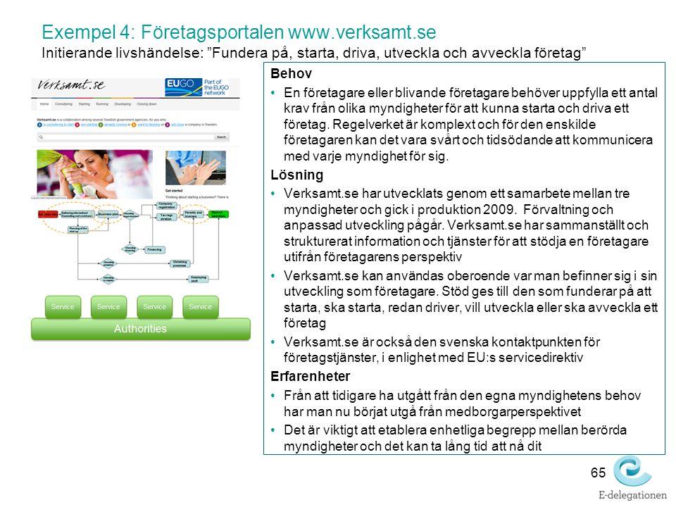 Exempel 4: Företagsportalen www. verksamt