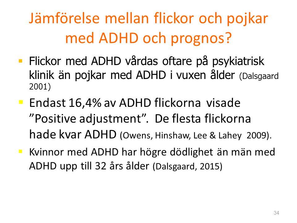 Jämförelse mellan flickor och pojkar med ADHD och prognos