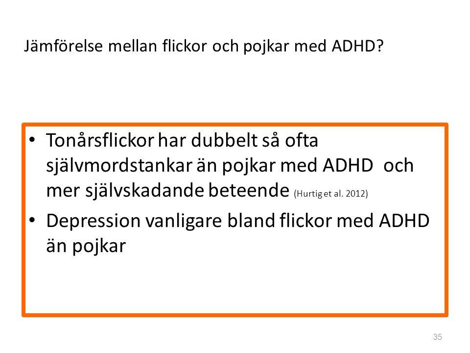 Depression vanligare bland flickor med ADHD än pojkar